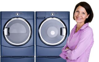 Woman, washer, dryer